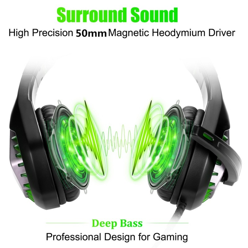 GH-1 3.5mm Game Gaming Headphone Headset Earphone Headband with Microphone LED Light for Laptop Tablet Mobile PhonesMobile phones or PS4 /PS4 pro/PS4 slim/Xbox one/Xbox one S/Xbox one X - green