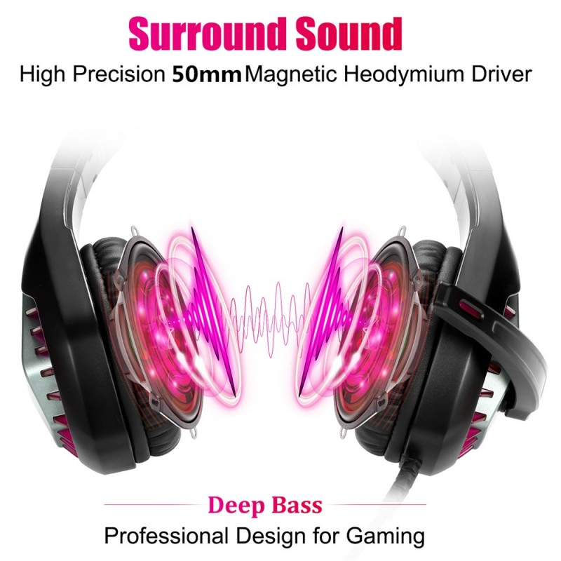 GH-1 3.5mm Game Gaming Headphone Headset Earphone Headband with Microphone LED Light for Laptop Tablet Mobile PhonesMobile phones or PS4 /PS4 pro/PS4 slim/Xbox one/Xbox one S/Xbox one X - red